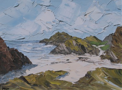 British Artist Martin LLEWELLYN - Beach and Rocks, Iona