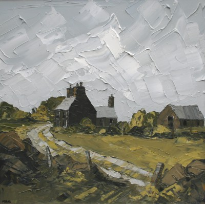 British Artist Martin LLEWELLYN - Farmhouse and Track