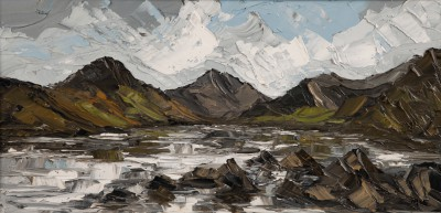 British Artist Martin LLEWELLYN - Mountains and Lake