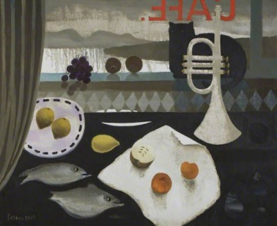 British Artist Mary FEDDEN - Black Cat Cafe