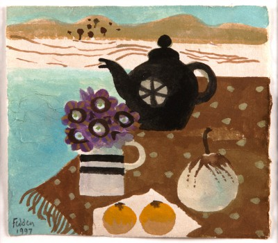 British Artist Mary FEDDEN - Still life with Teapot, Flowers and Fruit