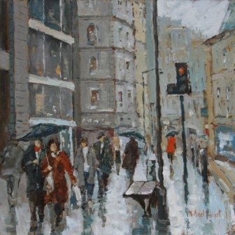 Manchester, Wet Weather painting by artist Michael EWART