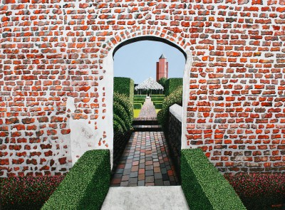 British Artist Michael KIDD - Sissinghurst through the Arch