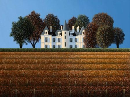 British Artist Michael KIDD - Chateau Pichon Lalande, Pauilliac Bordeaux in Autumn