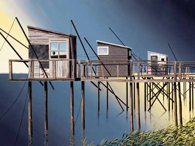British Artist Michael Kidd - Three Fishing Shacks