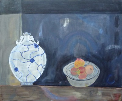 British Artist Miranda GARDINER - Chinese Moon Flask and Pomegranates