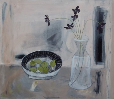 Green Olives and Chocolate Cosmos painting by artist Miranda GARDINER
