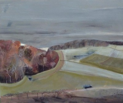 British Artist Miranda GARDINER - Evening Sun on Field Boundary