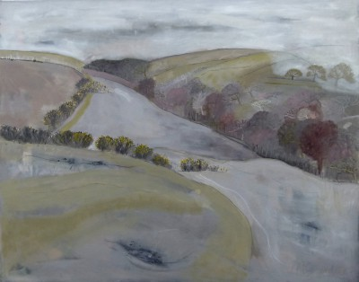 British Artist Miranda GARDINER - Mist Coming Down on Owley Corner