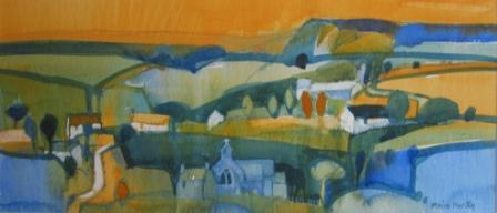 British Artist Moira HUNTLY - Summer Landscape Wales
