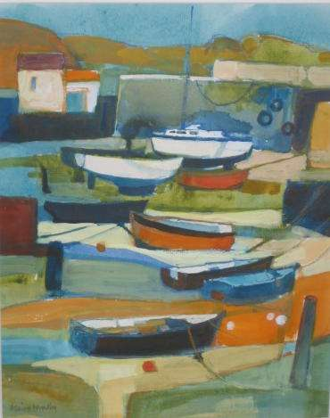 British Artist Moira HUNTLY - Fishguard Harbour