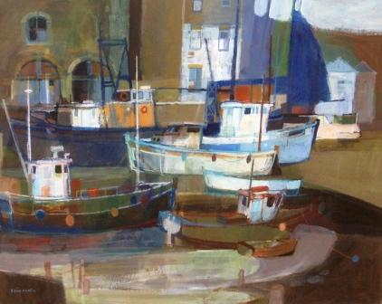 British Artist Moira HUNTLY - Blue and White Boats