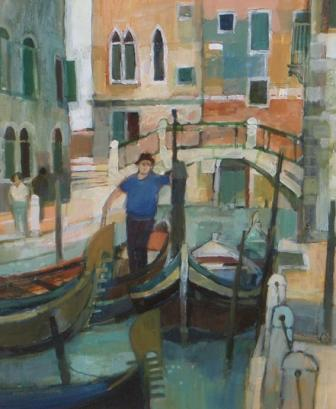 British Artist Moira HUNTLY - Boatman Venice