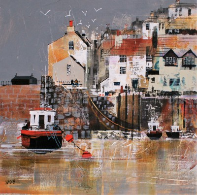 British Artist Nagib KARSAN - Polperro, Watching the Boats