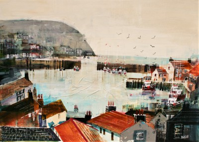 British Artist Nagib KARSAN - Polperro, Across the Rooftops