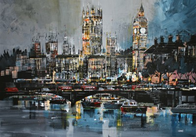 British Artist Nagib KARSAN - River Thames and Houses of Parliament