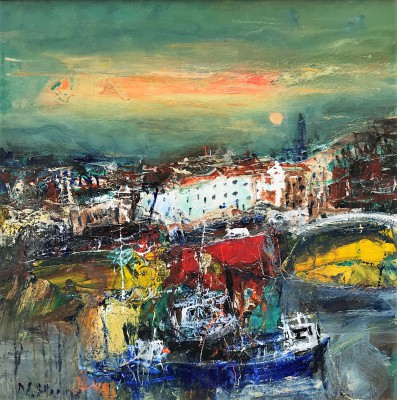 'Summer Night, Whitby Harbour' painting