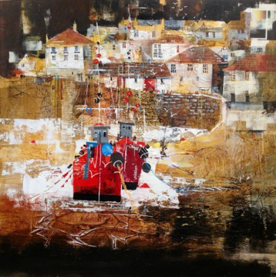 British Artist Nagib KARSAN - Fishermen Leaving, Port Isaac