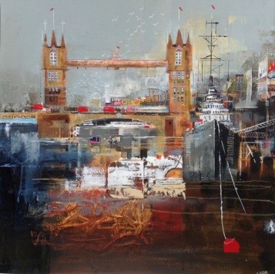 British Artist Nagib KARSAN - Towards HMS Belfast, Tower Bridge