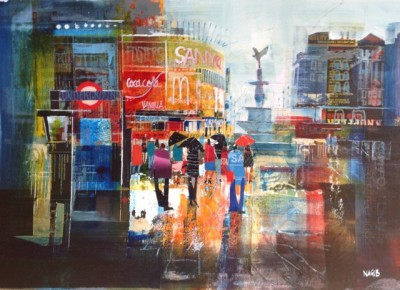 British Artist Nagib KARSAN - Summer Showers, Piccadilly Circus