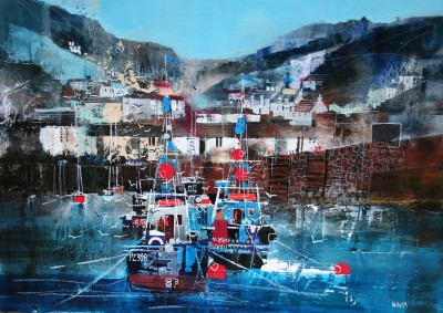 British Artist Nagib KARSAN - Working Harbour, Polperro