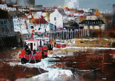 British Artist Nagib KARSAN - Polperro, View across the Harbour