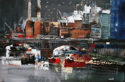 British Artist Nagib KARSAN - Battersea Power Station and the Thames