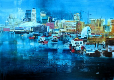 British Artist Nagib KARSAN - Thames Barrier and Canary Wharf