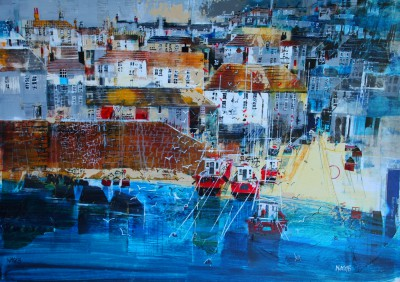 British Artist Nagib KARSAN - Boats in the Harbour, Port Isaac