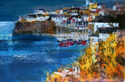 British Artist Nagib KARSAN - View from above Harbour, Port Isaac