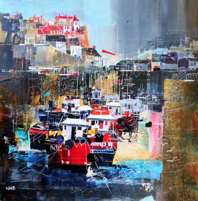 British Artist Nagib KARSAN - Fishing Boats, Megavissey Harbour