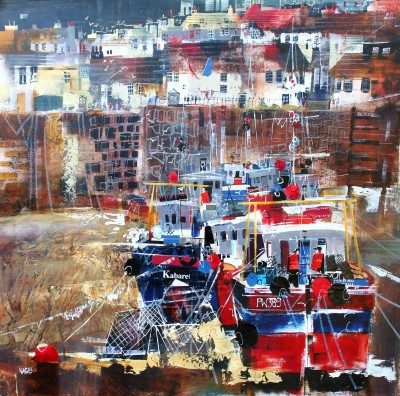 British Artist Nagib KARSAN - Fishing Fleet, Polperro