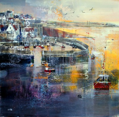 British Artist Nagib KARSAN - Crail Harbour and Village
