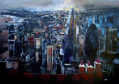 British Artist Nagib KARSAN - Cityscape, London