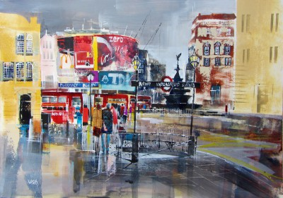 British Artist Nagib KARSAN - Buses and Billboards, Piccadilly Circus