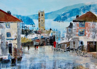 British Artist Nagib KARSAN - Fowey View to the Church