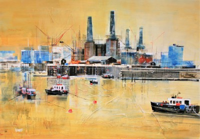 Battersea Power Station painting by artist Nagib KARSAN