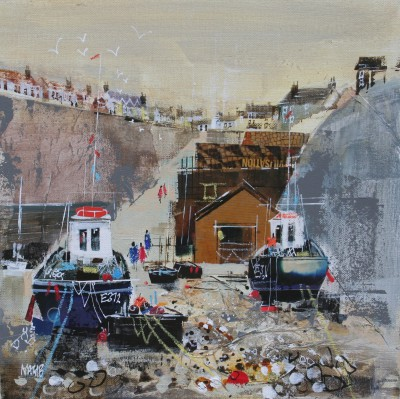 British Artist Nagib KARSAN - Fishing Boats, Beer