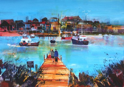 British Artist Nagib KARSAN - Waiting for the Ferry, Walberswick