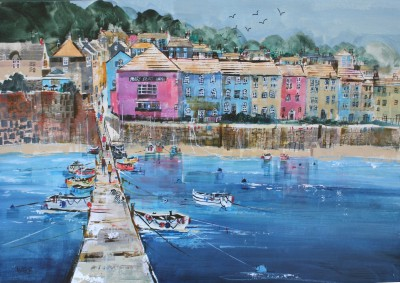 British Artist Nagib KARSAN - Arriving off the Ferry, Dittisham