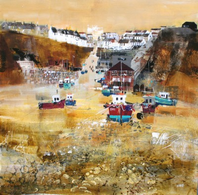 British Artist Nagib KARSAN - Beach and Village, Beer, Devon
