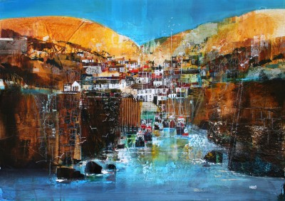 British Artist Nagib KARSAN - Busy Harbour, Port Isaac