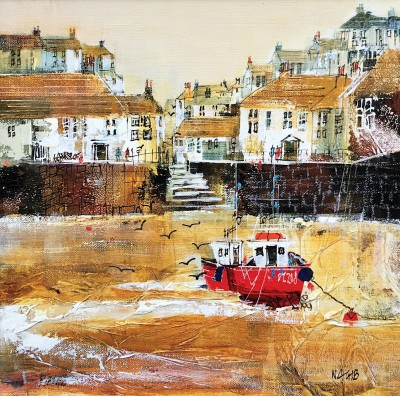 'Harbourside Stroll, Polperro' painting