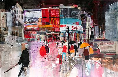 British Artist Nagib KARSAN - Heading for the Tube, Piccadilly Circus