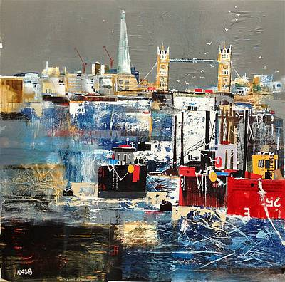 British Artist Nagib KARSAN - Tower Bridge and the Shard
