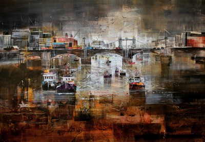 British Artist Nagib KARSAN - River Thames and Tower Bridge