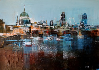 British Artist Nagib KARSAN - View Along the Thames