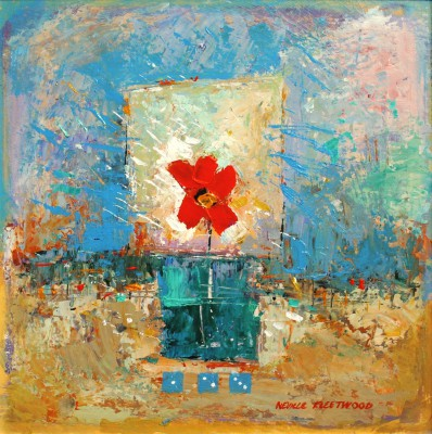 British Artist Neville FLEETWOOD - Red Flower in Glass Jar