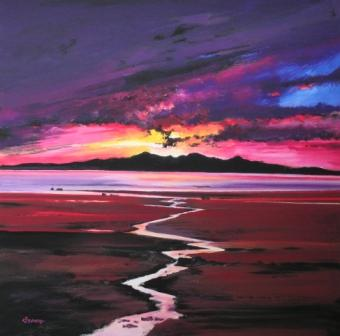 Limited Edition Prints Artist Davy Brown - Sunset over Arran