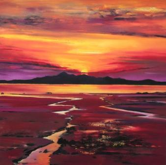 Limited Edition Prints Artist Davy Brown - Fading Sun, Arran